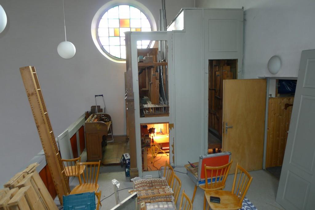 Orgelempore während der Renovierung